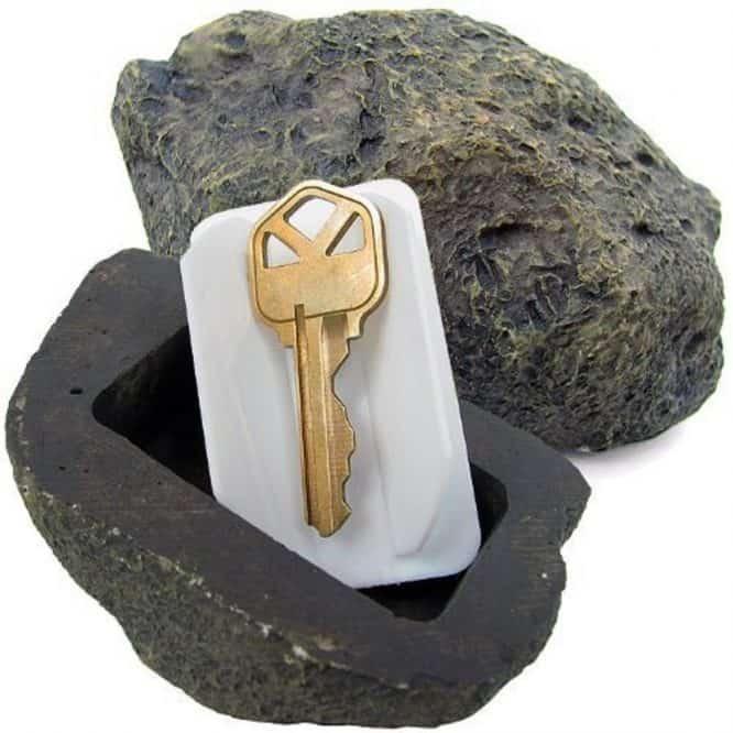 fake rock spare key hiding spot